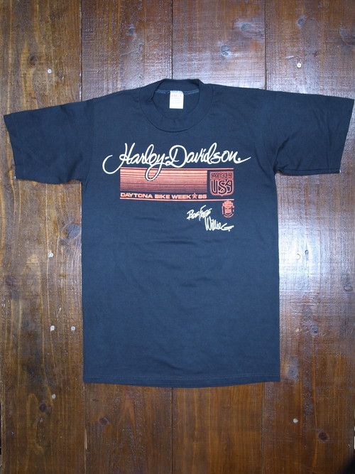 80's JERZEES Harley-Davidson WillieG 1986 ROBISON T-Shirts(黒)DEAD STOCK ㉑