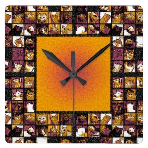 猫の正方形の柱時計の格子 スクエア壁時計