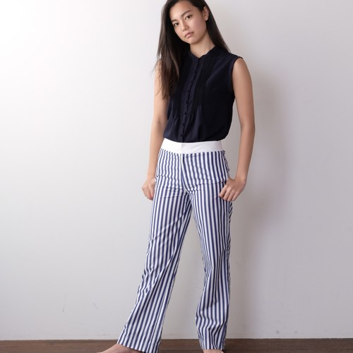 Cotton Stripe Wide Pants  / NAVY