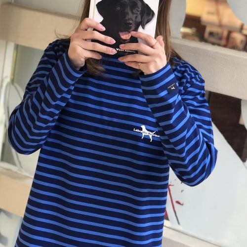 犬ロゴ ボーダーボートネック ロンT【ワンちゃんとお揃いになります】