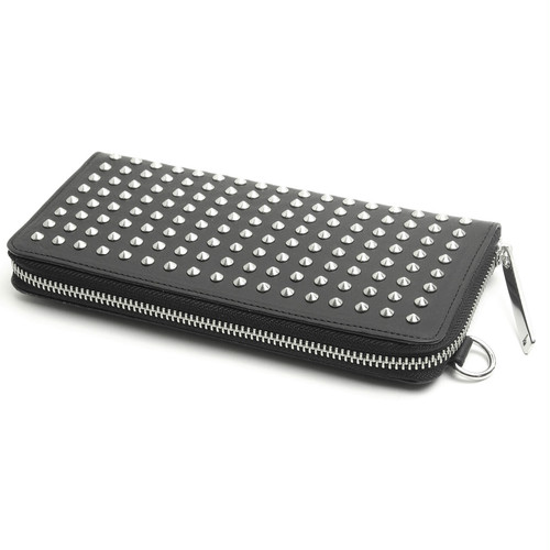 123AWA09 Leather long wallet 'all-studs' pointu RFロングウォレット