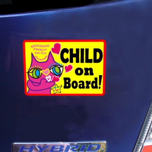 マグネットサイン 「Child On Board(こども乗ってます)」 高耐水&耐候性ステッカーサイン: 猫のショッキングピンキー 期間限定特別デザイン(慌てて地球に来ると付けヒゲ忘れちゃう貴重な瞬間)