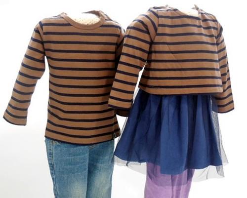 双子ベビー服2枚セット ミックスツイン ボーダー長袖Tシャツ&チュチュ風スカートチュニック(こげ茶)<17aw-mt001r-k>