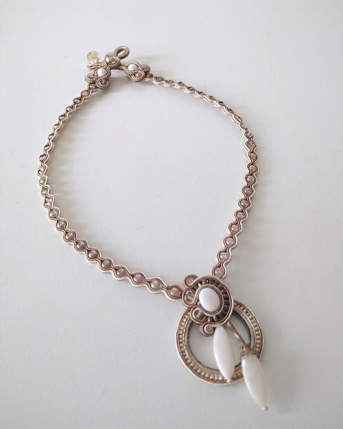 Classic soutache necklace -Beige-