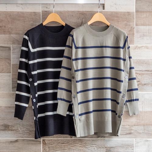 サイドボタンボーダーロングセーター