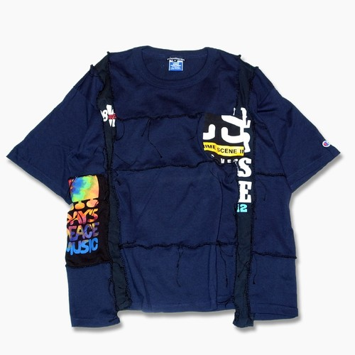 Hand Lock Patching T shirt -Navy #B