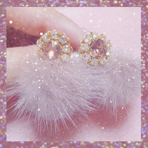 Bijou fur mini pierce♡Pink