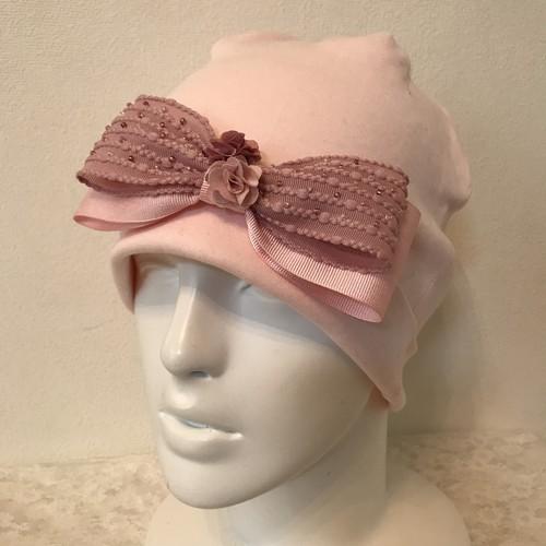お花とビーズとポップコーンリボンのケア帽子 ピーチピンク