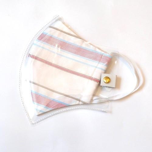 PVCマスクカバー&夏用マスクセット (M・L サイズ) pink ボーダー