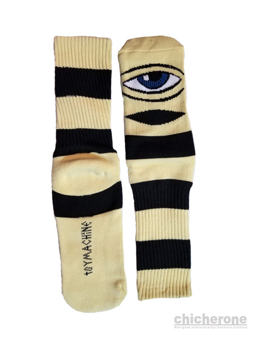 【TOY MACHINE】 SECT EYE BIG STRIPE SOCKS CAMEL