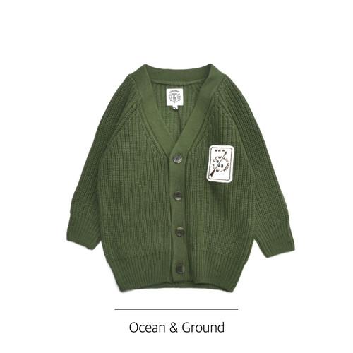 Ocean & Ground / Vネックニットカーディガン グリーン