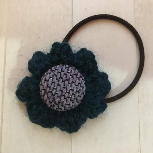 【コラボ商品】さをり織り×かぎ針編み一点物お花ヘアゴム(小)