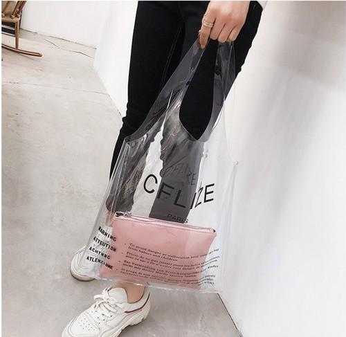 新作 ロゴクリアバッグ 透明トートバッグ ポーチ有り 手提げバッグ ハンドバッグ 大容量