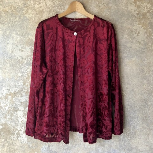 velour flower pattern cardigan