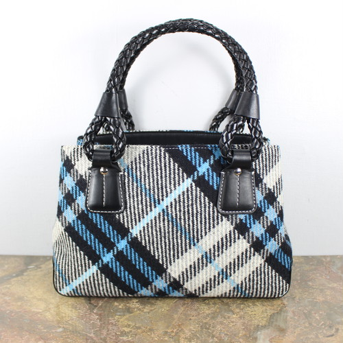 .BURBERRY CHECK PATTERNED WOOL LEATHER HAND BAG/バーバリーチェック柄ウールレザーハンドバッグ 2000000043760