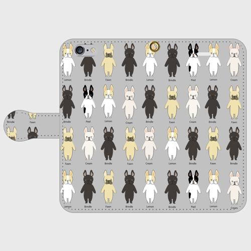 <受注製作>iPhone8/7/6/6s/5/5s/SE/手帳型 スマホケース フレブルちゃん グレー