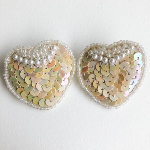 heart sequin pierce[p-696] ヴィンテージピアス