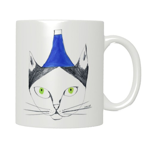 猫マグカップ「フージー」!ご希望の方には、お好きなイニシャルお入れします。