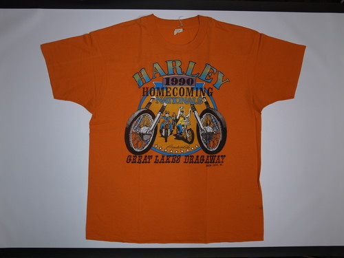 90's SCREEN STARS Harley-Davidson 1990 T-Shirts(オレンジ)
