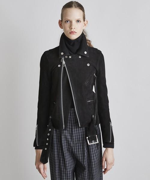 レディースライダースジャケット(羊革スエード)【ブラック】