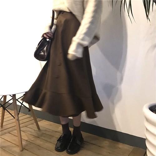 マーメイド ブラウン スカート ミモレ丈 裾フリル 前ボタン フェミニン デート レディース ファッション 韓国 オルチャン
