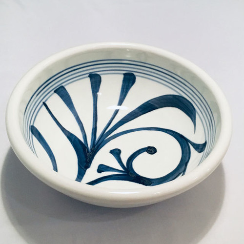 【砥部焼/梅山窯】7寸玉縁鉢(一つ唐草)