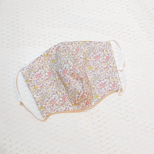 布マスク カバー 大人サイズ オリジナル クリエイター ハンドメイド ~白地にピンクやつぶつぶ小花柄