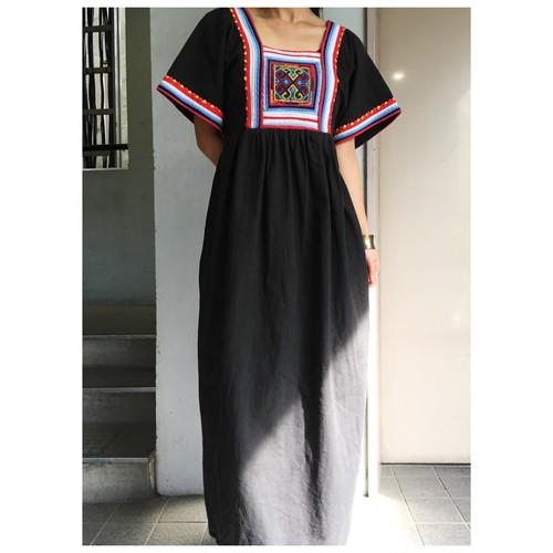 70's hand made cotton black long dress