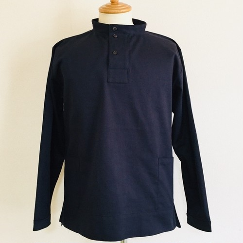 Glossy Twill Fisherman Smock Shirt Navy