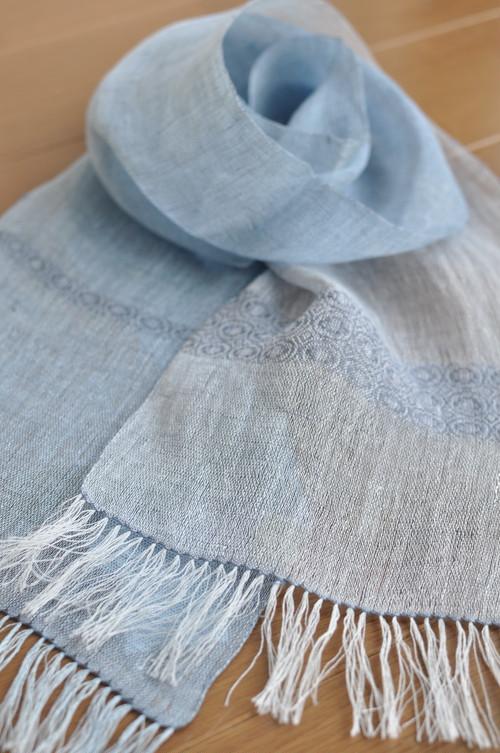 手織りリネンスカーフ ~そよ風~