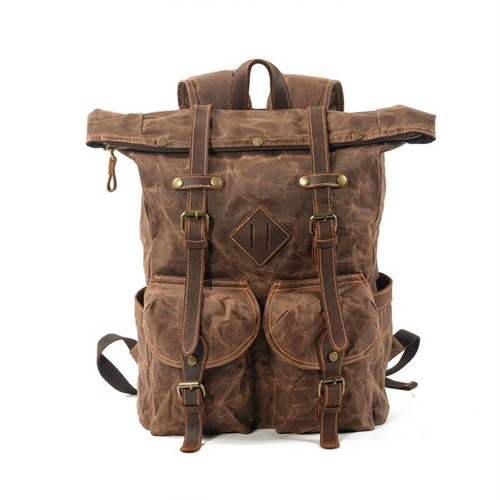 Large Capacity Leather Canvas Backpack Bag Backpack Waterproof Laptop Backpack レザー バックパック リュック 防水 (YYB0-1341520)