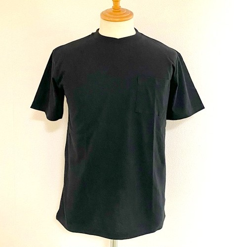 Combed Sheeting Material Over-Wrapped Neck Glasses Pocket S/S Tee Black