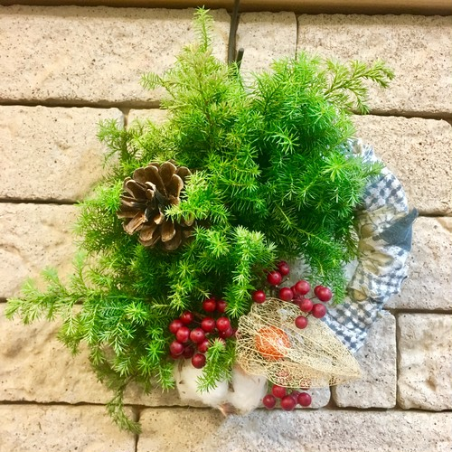 Wreath × vintage fabric
