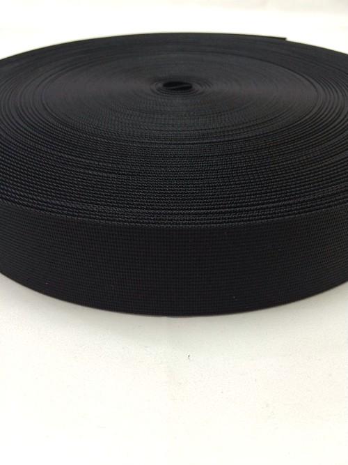 サコッシュなどに、ナイロン ベルト 高密度 15mm幅 1mm厚 黒 50m 現在染色中