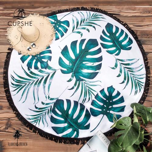 【FlamingoBeach】leaf beach mat ビーチマット ラウンドタオル 58199