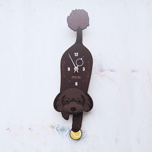 D-10 トイプードル ブラック(黒)-犬の振子時計