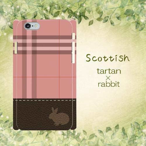 Scottish うさぎ×タータン×レザープリント スマホカバー ピンク