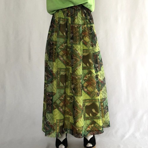 80s~90s KABUKI flare skirt (V4927A)