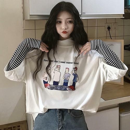 【送料無料】ゆるキャラ プリントT ♡ 重ね着風 ハイネック ボーダー Tシャツ ロンT カットソー