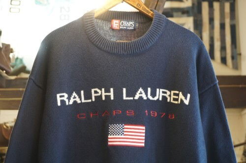 90's CHAPS by R.L. American flag navy cotton Sweater