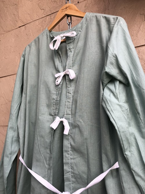 Deadstock Czech military green hospital gown cut off
