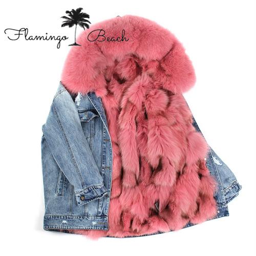 【FlamingoBeach】リアルファー デニムジャケット