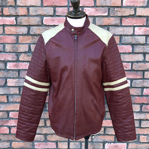 Vintage British Motorcycle Leather Jacket Burgundy