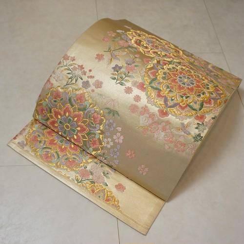 唐織り 華紋 袋帯 正絹 金糸 ベージュ パステルカラー 205