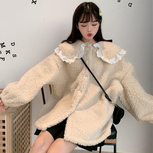 【アウター】スウィートラウンドカラーフリル切り替え裹起毛コート