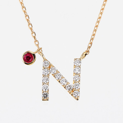 Initial K18YG Diamond【N】Pendant Necklace with Charm (ダイヤモンド イニシャル【N】ペンダントネックレス チャーム付き)