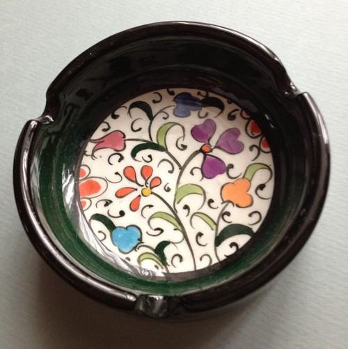 キュタヒヤ陶器/灰皿/ダークグリーン