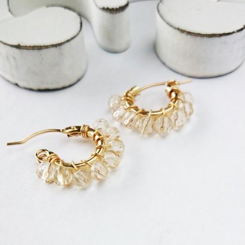 送料無料 14kgf*AAA champagne color quartz wrapped pierce/earring