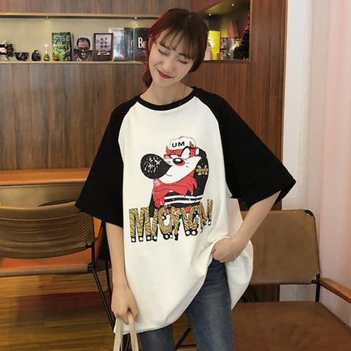 【トップス】シンプル配色長袖Tシャツ