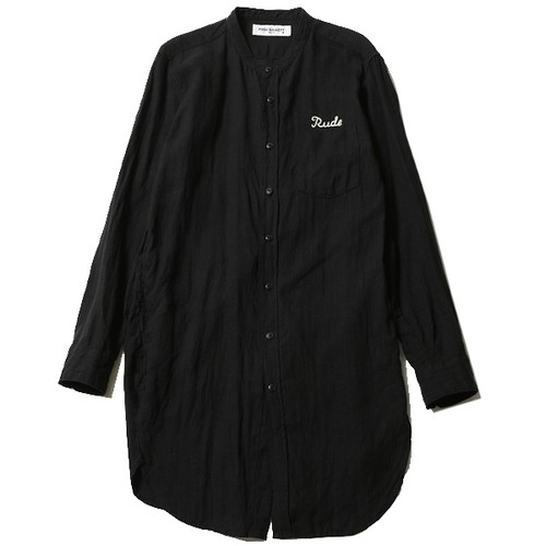 RUDE EMBROIDERED BAND COLLAR LONG SHIRT (BLACK) / RUDE GALLERY